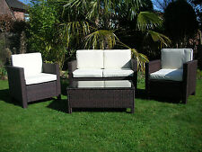 NEW GARDEN RATTAN WICKER OUTDOOR CONSERVATORY FURNITURE SET TABLE CHAIRS BROWN