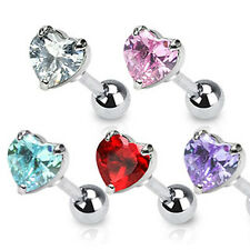 Heart Cartilage Tragus Bar With Cubic Zirconia Gem Surgical Steel