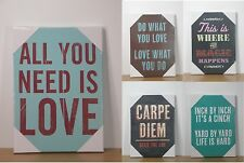 Fun Quotes Words Sayings Shabby Chic Vintage Stretched Canvas Wall Art Picture