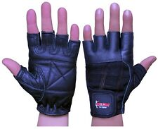 BooM Pro Pure Leather Gym Gloves Weight Lifting Body Building Cycling Excercise