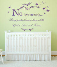 No Joys on Earth Quote, Vinyl Wall Art sticker, Mural, Decal, Girl's room