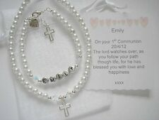 Personlised Christening, Baptism, 1st Holy Communion Set with Prayer Card