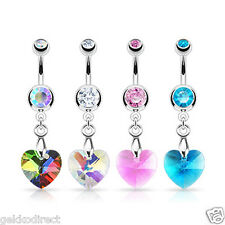 Surgical Steel Crystal Ray Prism Heart Belly Bar / Navel Ring - Choose Colour