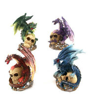 BN - Gothic / Metallic Dragon Perched on Skull Ornaments Figurines