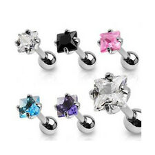 Surgical Steel Cartilage / Tragus Bar Earring with CZ Gem Top