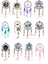 D07- Dreamcatcher with Prints & Feathers, Wolves, Wolf, Panther & Colours - 16cm