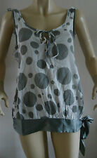 NEW LADIES CHILLI PEPPER GREY SPOTTED SLEEVELESS BLOUSE/TOP SIZES 8 & 10