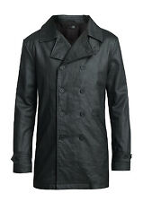 MENS BLACK  DENIM COATED MILITARY TRENCH COAT JACKET  S, M , L, XL
