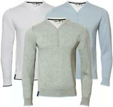 Men's 100% Cotton Y'neck 3 button T shirt Insert Jumper Sweater Knitwear