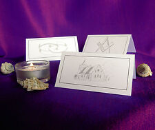 Table Place Name Setting Cards Wedding Masonic Meal Party Meeting White Ivory