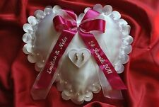 Personalised wedding ring cushion / pillow with ring holder HEART- 86 colors