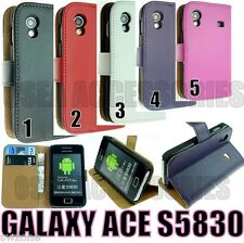 SAMSUNG GALAXY ACE S5830 LEATHER COVER CASE WALLET POUCH SKIN BACK HARD GEL BOOK