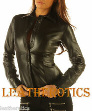 Ladies Soft leather Shirt top clothing long full sleeves for size 6 8 10 12 14