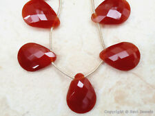 FACETED CARNELIAN CHALCY 22mm PEAR (2 Pcs -1 Pair) 24Ct