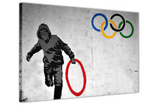 BANKSY CANVAS OLYMPIC RINGS THUG LARGE PICTURE PRINT / STREET ART / RED RING
