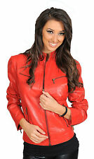 RED Leather Jacket For Womens Jenny Standing Collar Zip Up Designer Nappa Coat