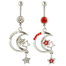 MA-38 DANGLE NAVEL BELLY BAR SEXY MOON AND STARS GEMSTONE 2 COLOURS UK STOCK