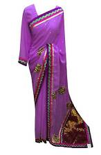 Bollywood border Lilac saree with ready made Blouse Indian Wedding saree UK 7009
