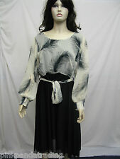PLUS SIZE DRESS LADIES CREAM & BLACK FEATHER PRINT LONG SHEER BELTED