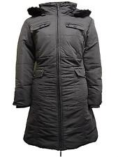 NEW LADIES WOMENS LONG HOODED QUILTED PADDED GREY PARKA JACKET COAT SIZE 10-28