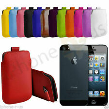 Large Premium PU Leather Pull Tab Case Cover Pouch For Apple iPhone 5 5s 5SE