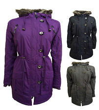 NEW Womens Quilted plus SZ Ladies WINTER FUR hooded parka jacket coat SIZE 10-26