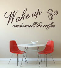 Wake Up & Smell Coffee Vinyl Wall Art Sticker Mural Decal Kitchen Cafe