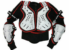 ADULT ENDURO MOTOCROSS ATV BIKE QUAD OFF ROAD CE BODY ARMOUR JACKET WHITE/RED