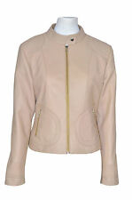 Ladies 7626 Summer Beige Cool Retro Biker Style Fitted Designer Italian Leather
