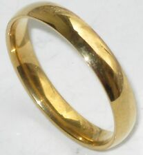 his OR hers PLAIN WEDDING RING BAND str191 GOLD PLATED 5MM STEEL GOLD FILLED