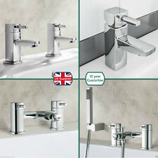 BOSTON SQUARE BRASS SINK BATH BASIN FILLER SHOWER MIXER MONO TALL CHROME TAP SET