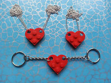 QUIRKY LOVE HEART KEYRING OR NECKLACE, MADE USING NEW LEGO BRICKS ~ COLOURS