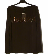 Maglia Elena Mirò Marrone Paillettes 43 Brown T-Shirt
