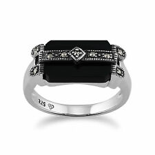 Sterling Silver Art Deco 2.5ct Black Onyx & Marcasite Ring