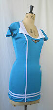 AIR HOSTESS FLIGHT ATTENDANT MOD BLUE VINTAGE LOOK FANCY DRESS COSTUME M FLY ME