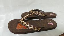 """New! Womens Justin """"Stace"""" Amber Stone Sandals – Flip Flops  125L"""