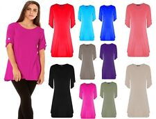 WOMENS LADIES TURN UP BUTTON SHORT SLEEVE FLARED SWING MINI DRESS PLUS SIZE TOP