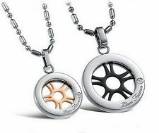 Stainless Surgical Steel Couple Necklace Ship Wheel Engraved Black Gold