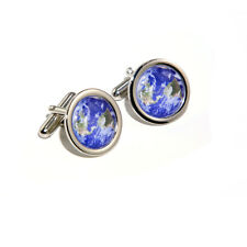 Planet Earth World Globe from Space Science Cufflinks & Engraved Gift Box Opt.