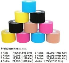 KINESIOLOGIE TAPE 5cm x 5m 12 FARBEN Tapes Taping Klebeband Tapeverband Sport