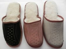 Men`s Natural Leather Sheep wool warm slippers All Size Colors:Black,Brown,Gray