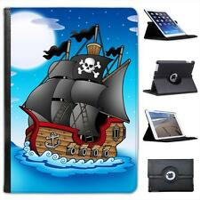 Jolly Roger Pirate Ship Sailing at Night Folio Leather Case For iPad Air & Air 2