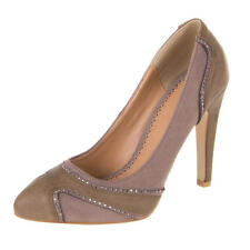 Damen Schuh Pumps New Bella STRASS STEIN DEKO HIGH HEELS Grau Braun