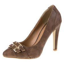 Damen Schuh Pumps New Bella SCHNALLEN DEKO HIGH HEELS Braun