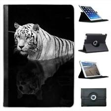 White Tiger In Water With Reflection Folio Leather Case For iPad Mini & Retina