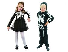 CUTE SKELETON BOY JUMPSUIT WITH HOOD / GIRL DRESS FOR TODDLERS FANCY HALLOWEEN