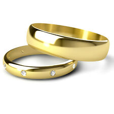 Yellow Gold His & Hers Diamond Wedding Ring Set D Shaped Band UK Made & Hallmark