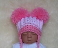 Baby Girls 2 Tone Pink Crocheted Double Pom Pom Hat from Newborn-12-24 mths