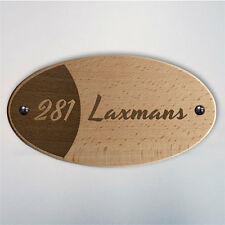 Oval Wooden Name Plate - Iris