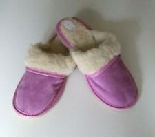 Ladies/Womens Suede and Wool Slippers Leather Sheepskin Pink Shoes Size 4-8